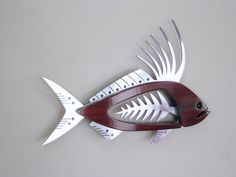 Large Rooster Fish Contemporary Sculpture by TheWoodenFishMarket