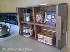 """Wood Crate turned Spice Rack! Add that """"rustic"""" touch to your kitchen."""