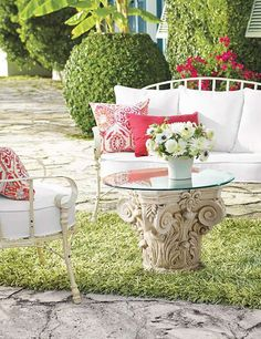The Eloise Loveseat and Chair brings charm and character to your outdoor space with beautifully sculpted iron form and wraparound arms with a sweet powdercoat finish.