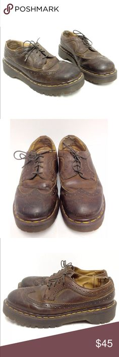 Vintage 90s Dr Martens Docs wingtip shoe ENGLAND Original! Made in England. Normal wear with heavier wear on the back of the inside (see pictures). Does not affect wearability. Thicker than standard soles (popcorn soles). UK 4 / US 6 women's.   At this price, after fees, I will receive $36 so please be mindful of this if considering making an offer. Dr. Martens Shoes Ankle Boots & Booties