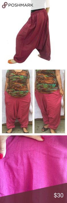 """Low crotch pants Indian Boho Genie Baggy Pants with pockets on both sides . 100 % cotton . One size fits all . Would fit way up to size 16. I am size 16-18 if it helps . Waist stretches upto 48, le th 41"""" .Nwot  . There is a slight weaving defect as shown in 3rd pic . Please refer 2nd pic for material . It's thicker cotton material . Also available in cream and blue in individual listings . Willing to accept reasonable offer . Color is exact as shown in 2nd pic Pants"""