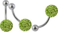 Piercing so Swarovski kryštálmi Belly Button Rings, Piercing, Swarovski, Green, Jewelry, Jewlery, Jewerly, Piercings, Schmuck