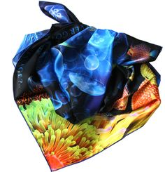 """100% silk square scarf blue coral reef """"My message"""""""