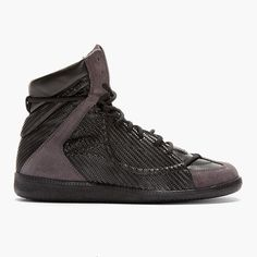 Black Woven Wrestling High-top Sneakers by Maison Martin Margiela - $790