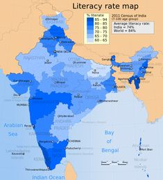 2011 Census India literacy distribution map by states and union territories - Literacy in India - Wikipedia, the free encyclopedia