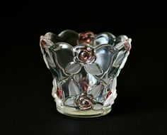 Vintage ,Mikasa Glass,Mikasa Vase,Glass Candle Holder, Pink Roses Glass, Clear and Frosted Glass ,Heavy Art Glass by HoneyQueenBee on Etsy