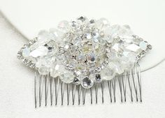 Bridal Hair Accessory-Fire and Ice-Crystal Hair Comb- Rhinestone Bridal Comb-Rhinestone Hairpiece-Brass Boheme- Crystal Hair Comb- Hair Clip