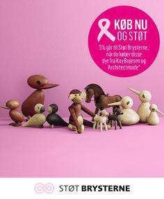 Adopter et af de skønne trædyr. Der vil passe skønt ind i hvert hjem. Køber du et af disse dyr fra Kay Bojesen eller Architectmade støtter du kampen mod brystkraft med 5%. Til og med den 3. oktober. #lyserrød #pink #støtbrysterne #denlyserødesløjfe #støtengodsag #inspirationdk #lyserødinspiration #Architectmade #Kaybojesen