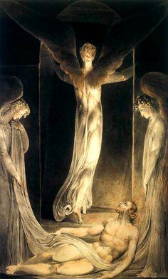 BLAKE, William (1757-1827) The Resurrection c. 1805 Pen, ink, watercolour, 412 x 300 mm Victoria and Albert Museum, London Ed. Orig.