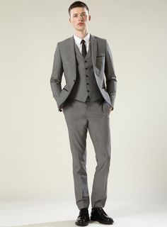 three piece suits pinterest | Grey Bogart Three Piece Skinny Suit
