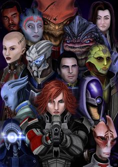 I didn't expect Mass Effect to be something that would make such a mark on me. I can't think about the characters without getting filled with all sorts of emotions.This was a huge endeavour f. Mass Effect Characters, Mass Effect Games, Mass Effect 1, Mass Effect Universe, Saga, Star Force, Commander Shepard, My Favorite Image, Geek Culture