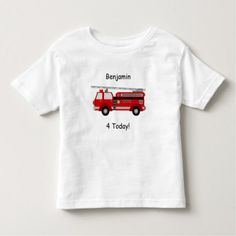 "Toddler Fire Truck T-Shirt with Name & ""4 Today!"" - birthday gifts party celebration custom gift ideas diy"