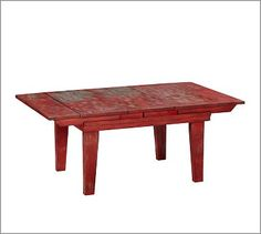 Red coffee table from Pottery Barn. Red Coffee Tables, Coffee Table Pottery Barn, Home Furniture, Outdoor Furniture, Match Making, Dining Bench, Living Spaces, Indoor, Wood