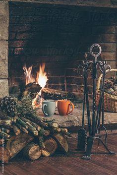 A warm mug of tea by the fire