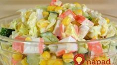 Salad of Crab Sticks. Bright juicy and delicious salad of crab sticks. Easy Salad Recipes, Avocado Recipes, Raw Food Recipes, Seafood Recipes, Food Network Recipes, Lunch Recipes, Cooking Recipes, Healthy Recipes, Delicious Recipes