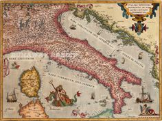 Old Map of Italy // Antique Map of Italy // Historic Map of Italy  Abraham Ortelius On May 20, 1570, Gilles Coppens de Diest at Antwerp issued the first modern atlas, Ortelius' Theatrum Orbis Terrarum, a collection of 53 uniform map sheets and sustaining text bound to form a book for which copper printing plates were specifically engraved.