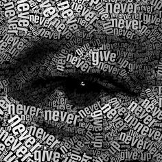"""Juan Osborne's text portrait made of the phrase """"Never, never, never, never give up"""" - a quote from a speech Churchill made on October 1941 at Harrow School Text Portrait, Cv Design Template, Figure Of Speech, Art Photography, Cool Designs, Graphic Design, This Or That Questions, Black And White, Eyes"""