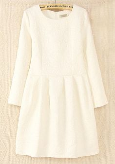 White Plain Pleated Collarless Above Knee Wrap Dress