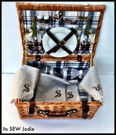 Monogrammed and fringe linen napkins made by Its SEW Jodie to go with retro picnic basket.