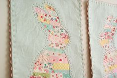 Great idea= tiny scraps striped pieced and laid beneath a design for reverse applique love the name of original site :)