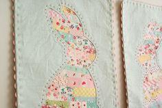 Nana company - bunny ticker tape fabric wall hanging