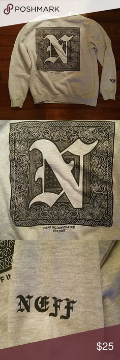 Men's Large Pacsun Crewneck Great condition, mens large crewneck, colors consist of silver and black. Neff company, reads neff on sleeve. Big N in the middle. Really comfy. PacSun Sweaters Crewneck