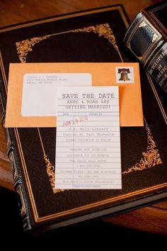 Wedding Invitations: Bibliohiles will love this library-inspired wedding save-the-date. @Laura Ivanova