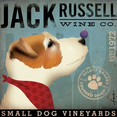 Jack Russell Wine Company original graphic by geministudio on Etsy, $24.00
