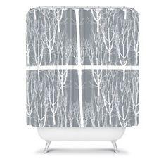 Karen Harris Looking Out in Ash Shower Curtain