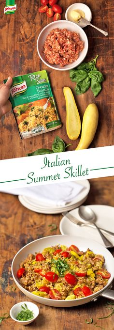 Enjoy sitting outside and eating with your family? Follow the easy recipe for Knorr's flavorful Italian Summer Skillet for a delicious  dinner.