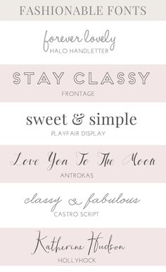 These Lovely Fashion Fonts Would be Perfect for Use in Your Projects. Fashion Friendly, Modern, and Fashionable. Which Is Your Fave?!