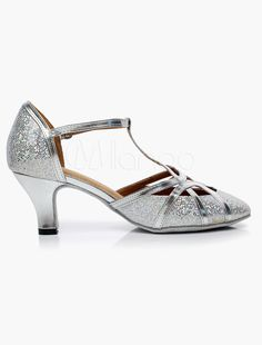 Silver T-Strap Pointed Toe Latin Shoes - Milanoo.com