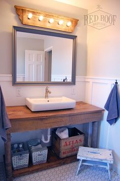 Boys' Farmhouse Bathroom Remodel | Hex tile floor | ikea bathroom sink | diy vanity
