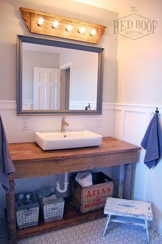 Boys' Farmhouse Bathroom Remodel | Hex tile floor | ikea bathroom sink | diy vanity