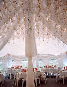 interesting idea for ceiling decor - balloons with gold streamers Wedding Balloons, Tent Wedding, Wedding Reception Decorations, Wedding Gold, Tulle Wedding, Luxury Wedding, Rustic Wedding, Dream Wedding, Balloon Ceiling