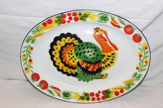 VINTAGE OVAL THANKSGIVING TURKEY ENAMELWARE SERVING TRAY PLATE PLATTER