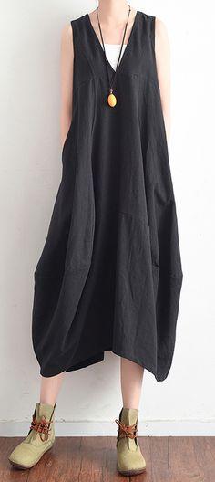 eb79528898 French black v neck linen clothes For Women stylish design sleevless loose  summer Dress