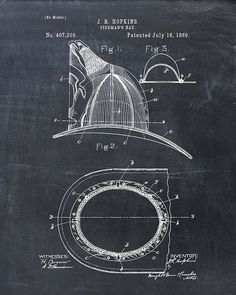Patent Print of a Fire Helmet Patent Art Print - Patent Poster - Firetruck - Fireman Helmet - Fireman Hat Firefighter Emt, Firefighter Crafts, Fireman Hat, Fire Helmet, Wall Art Prints, Poster Prints, Blueprint Art, Patent Drawing, Patent Prints