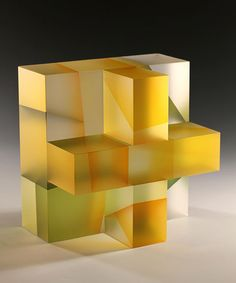 "Segmentation Series : Jiyong Lee - genetic building block - yellow & green segment, 10.5""h x 10.5""w x 7.5""d, 2012"