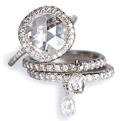 Fred Leighton's version of JARS Original diamond briolette dangle ring.