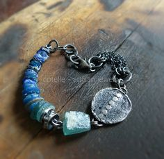 Blue Ancient Glass and Raw Sterling Silver Artisan by COTELLE