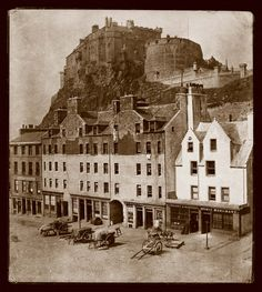 The Grassmarket and Castle, Edinburgh. Photograph by Thomas Keith, circa 1860 Old Town Edinburgh, Visit Edinburgh, Edinburgh Castle, Edinburgh Scotland, Scotland Travel, Old Pictures, Old Photos, Antique Photos, Vintage Pictures