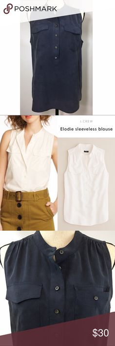 "J. CREW Elodie Silk Sleeveless Blouse Silk J. Crew Pull Over Top  Size: 10 •armpit to armpit: 20"" •Shoulder/hem: 25"" •Sleeve hole (top to bottom): 10"" •Note: Slight discoloration on front. But hardly noticeable. J. Crew Tops Blouses"