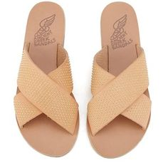 Ancient Greek Sandals Women's Thais Studded Leather Flat Sandals - Natural/Gold Studs: Image 11