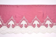 A beautiful tea rose pink satin trim with a Medeival, pale pink embroidered design. It is an absolutely stunning and unusual color satin and beautifully embroidered design.  A slightly lighter weight satin, sturdy and supple, this would be fabulous for lingerie, nightwear, formal wear, professional historic costumes, opera/ theater costumes, a magical wedding dress, etc.  This is European, high quality embroidered trim.  Measures 8 or 20 cm.  This listing is for 1 yard precut  For multi...