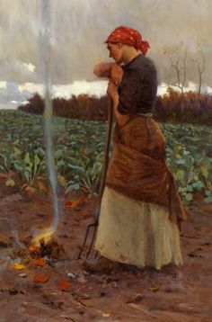 October Fun! --- Painting of the Day George Faulkner Wetherbee (1851-1920) The Harvest Is Past  The Summer Is Ended Oil on Canvas -1884  To see more works by this artist please visit us at: http://www.artrenewal.org/pages/artist.php?artistid=6146  Share your favorite old master works with us! http://www.pinterest.com/ArtRenewal/share-your-favorite-old-master-works/