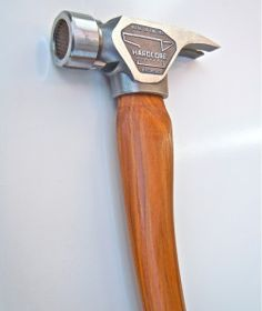 Hardcore Hammers This Is the original hard core hammer with recessed milled insert. The recessed milled traction surface is protected from striking anything but the nail by the smooth outer rim. Framing Hammer, Hammer Tool, Vinyl Record Storage, Woodworking Hand Tools, Old Tools, Blacksmithing, Tool Box, Tool Design, Handle