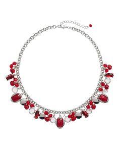 White House | Black Market Red Fringe Short Necklace  #whbm