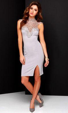 Renaissance Court Grey Lace Midi Dress