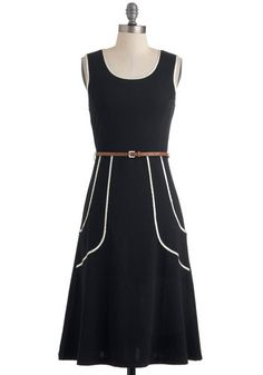 Outline of Work Dress - Long, Black, White, Solid, Work, Vintage Inspired, 60s, 70s, Tank top (2 thick straps), Belted